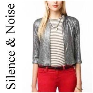 Silence + Noise Gunmetal Sequined Cropped Jacket
